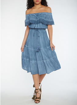 Off the Shoulder Peasant Dress with Tassel Belt - 0090056124463