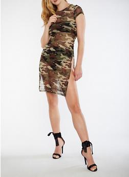 Camo Print Mesh T Shirt Dress - 0090058930144