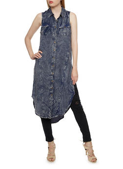 Denim Maxi Top with Button Front - 0090061630002