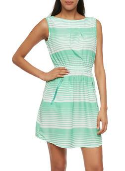 Sleeveless Striped Dress with Zipper Pockets - 0090061631913