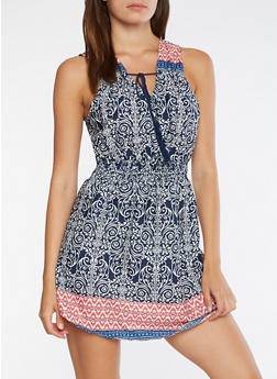 Sleeveless Printed Skater Dress - 0090068700031