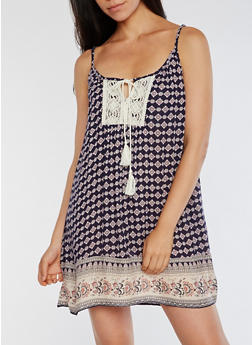 Printed Shift Dress with Crochet Detail - 0090068700153