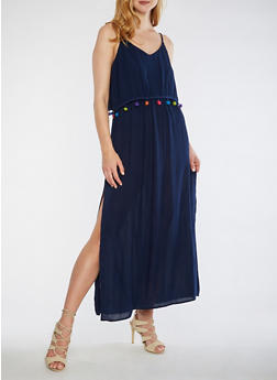Pom Pom Trim Maxi Dress - 0090068709093