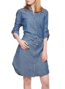 Denim Shirt Dress - 0090070655507