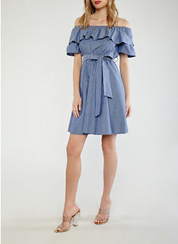 Off the Shoulder Chambray Skater Dress - 0090074280161