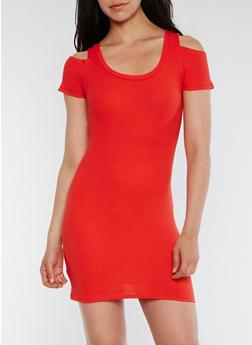 Cold Shoulder Rib Knit Mini Dress - 0094015050459