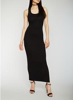 Solid Rib Knit Racerback Maxi Dress - BLACK - 0094015050481