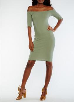 Off the Shoulder Rib Knit Midi Dress - 0094015050717