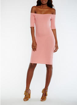 Off the Shoulder Rib Knit Midi Dress - ROSE - 0094015050717