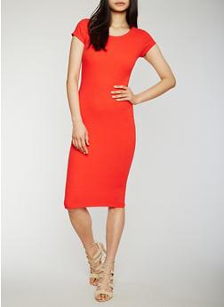 Solid Rib Knit Bodycon Dress - 0094015050718