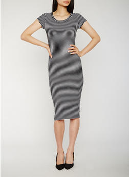 Striped Rib Knit T Shirt Dress - 0094015050719