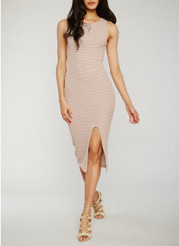 Sleeveless Striped Rib Knit Dress with Front Slit - GINGER SNAP/OFF WHITE - 0094015050721