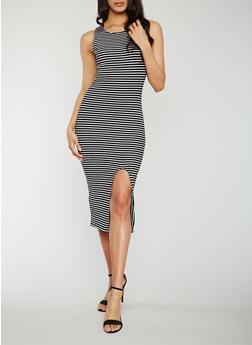 Sleeveless Striped Rib Knit Dress with Front Slit - BLACK/WHITE - 0094015050721