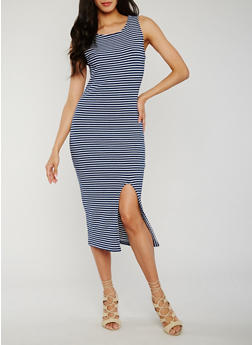 Sleeveless Striped Rib Knit Dress with Front Slit - NAVY/WHITE - 0094015050721