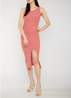 Sleeveless Striped Rib Knit Dress with Front Slit - 0094015050721