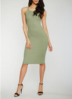 Rib Knit Cutout Halter Neck Bodycon Dress - 0094015050722