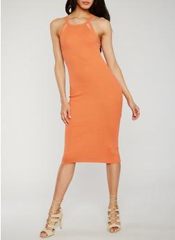 Rib Knit Cutout Halter Neck Bodycon Dress - 0094015050722