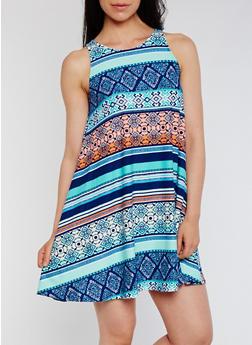 Sleeveless Swing Dress with Back Keyhole - MINT - 0094015050723