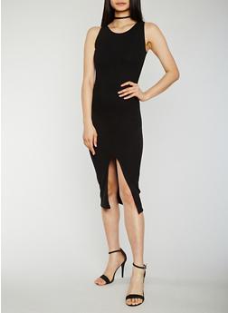 Solid Tank Dress with Slit - BLACK - 0094015051720