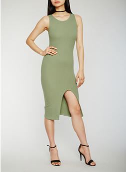 Solid Tank Dress with Slit - 0094015051720