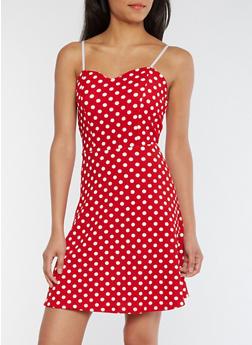 Sleeveless Polka Dot Skater Dress - 0094038342976
