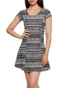 Printed Skater Dress - 0094038346326