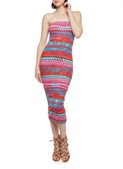 Strapless Midi Bodycon Dress with Tribal Print - 0094038346729