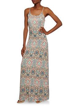 Sleeveless Maxi Dress in Mixed Print - 0094038346739