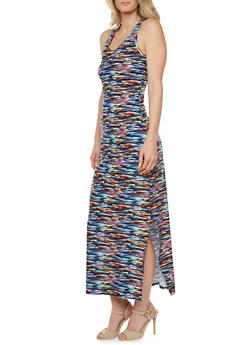 Brush Stroke Print Maxi Dress with Racerback Paneling - 0094038346742