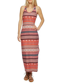 Printed Maxi Dress with Ruched Racerback - 0094038346743