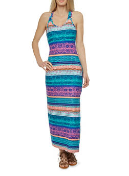 Printed Maxi Dress with Racerback - 0094038346744