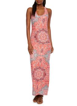 Racerback Maxi Dress with Paisley Print - 0094038346748