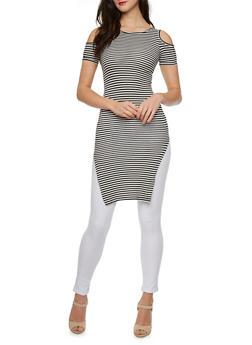 Striped Cold Shoulder Dress - 0094038346753