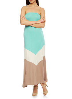 Maxi Tube Dress with Color Block Print - 0094038346767