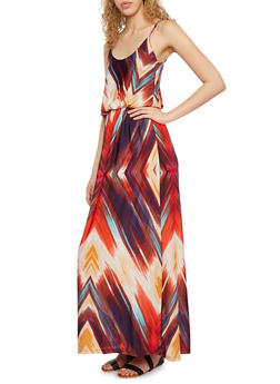 Empire Waist Maxi Dress with Painted Print - 0094038346789