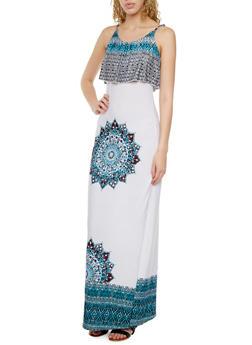 Paisley Mandala Print Maxi Dress with Crop Top Overlay - 0094038346799