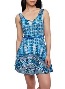 Printed Skater Dress with Belt - 0094038346814