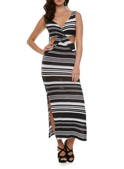Striped Maxi Dress with Cutouts and Gathered Bust Paneling - 0094038346819