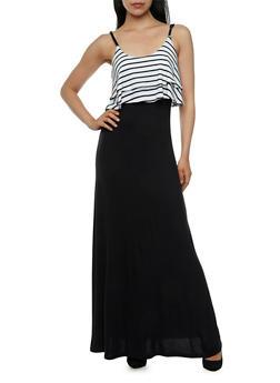 Maxi Dress with Striped Flounce Bodice - 0094038346830