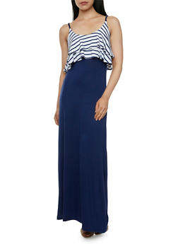 Maxi Dress with Striped Flounce Bodice - 0094038346830