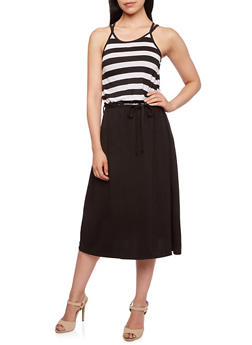Striped Dress with Racerback Paneling and Scoop Neck - 0094038346831