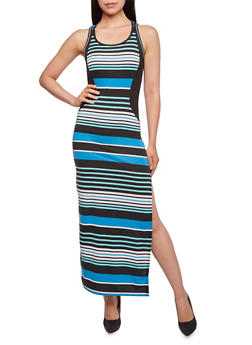 Striped Maxi Dress with Contoured Panel - 0094038346834