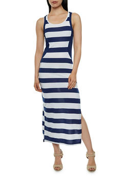 Striped Maxi Dres with Illusion Paneling and Scoop Neck - 0094038346835