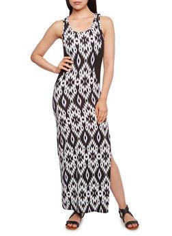 Ikat Print Maxi Dress with Illusion Paneling - 0094038346837