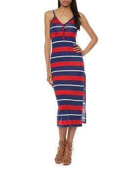 Spaghetti Strap Henley Midi Dress with Mixed Stripe Print - 0094038346849