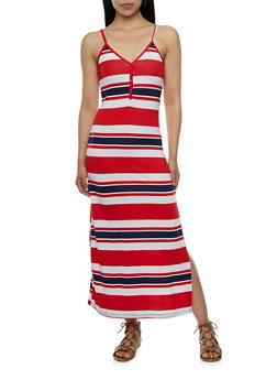 Striped Maxi Dress with V-Neck and Henley Buttons - 0094038346850