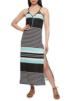 Striped Maxi Dress with Side Slit - 0094038346851