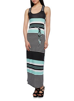 Striped Maxi Dress with Scoop Neck and Optional Waist Belt - 0094038346855