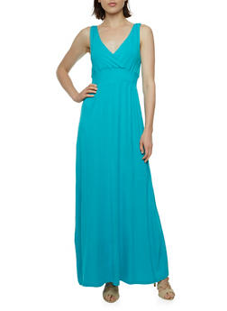 Jersey Maxi Dress with Smocked Waist and Surplice Neck - 0094038346862