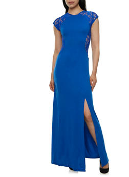 Solid Dress with Lace Side Panels - 0094038346864